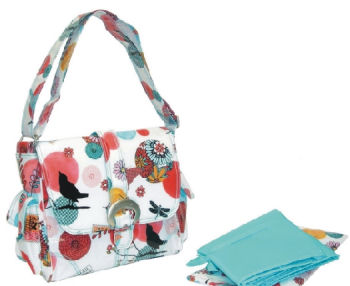 kalencom midi diaper bag sayonara bird butterflies dragonflies teal blue red black