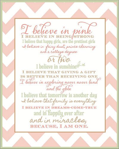 Free printable pink and green nursery wall art with inspirational quotes and sayings for a baby girl