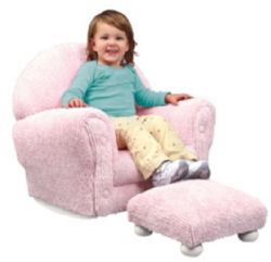 baby girl personalized pastel pink chenille nursery rocker rocking chair