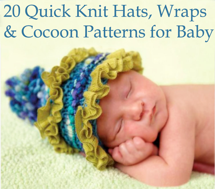 Baby hat knitting pattern with ruffles and a pom pom for a boy or girl.