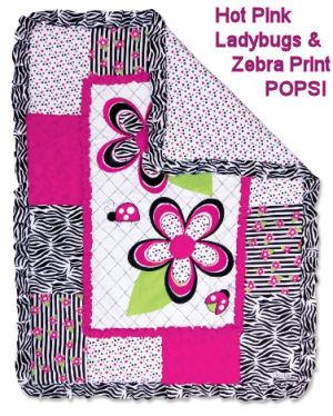 Hot pink ladybug baby girl crib bedding set with zebra print for the nursery room