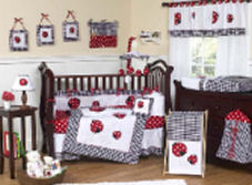 ladybug baby bedding red black pink green mod crib bedding set nursery picture theme