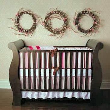 Pink vintage ladybug baby crib bedding set pink black and white
