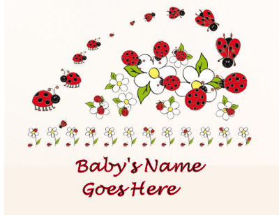 Personalized red and black ladybug nursery wall decals and decorations
