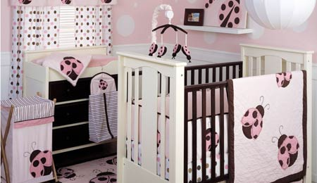 mod pink ladybug baby nursery crib bedding set chocolate brown pink polka dots dot dotted