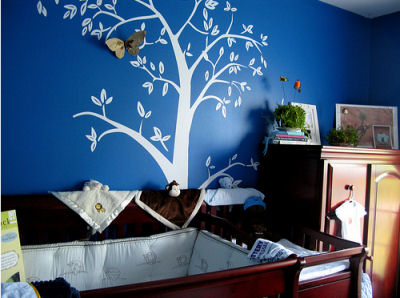 Navy Blue Lamb Baby Nursery Walls w Moth Tree Mural