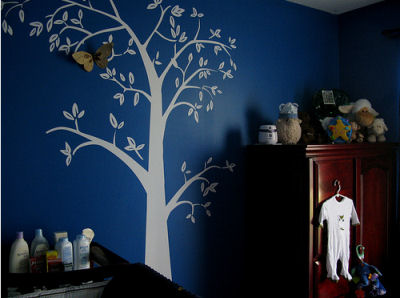 Three Dimensional (3D) Moth Tree Mural on a Midnight Blue Nursery Wall