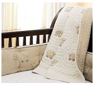 lamb lambie baby crib bedding set brown antique white cream chamois tan