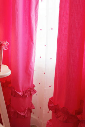 Fuchsia hot pink baby girl nursery curtain panels with white and pink polka dot sheer curtains