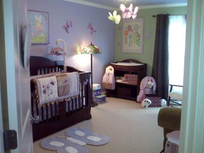 Lavender, Green and Chocolate Brown Butterfly Nursery