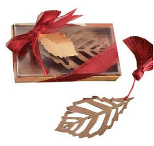 Fall shower favor leaf bookmark with tassel and gift box