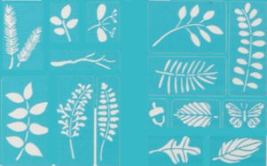 Leaf stencil pattern sheets with butterfly fern and acorn  templates