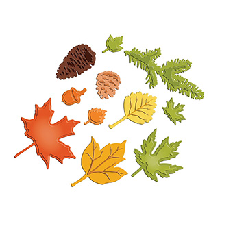 Leaf stencil template patterns for many trees