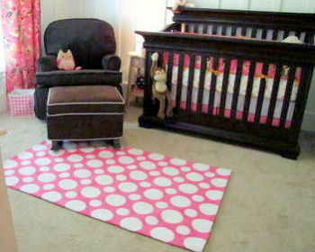 Baby Girl Pink and Brown Monkey Theme Nursery with Sock Monkeys, Owls and a Pink and White Polka Dot Nursery Rug