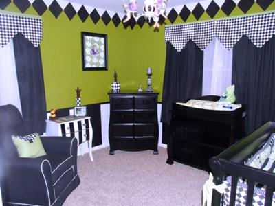 Our Baby Boy, Liam's, Black, White and Lime Green Frog Prince Nursery Theme with Harlequin Diamond Pattern