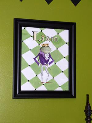 Custom green frog prince harlequin print art print for a baby nursery room wall