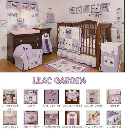 Lilac Nursery Bedding and Lavender Baby Nursery Bedding and Decor