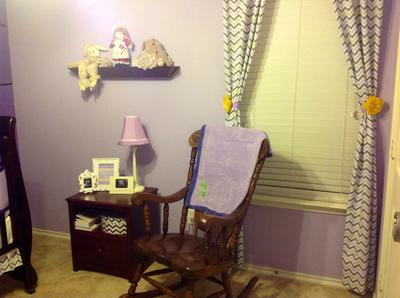 Lilac Meadows Purple Nursery Rocker and Decor in a Room for a  Baby Girl