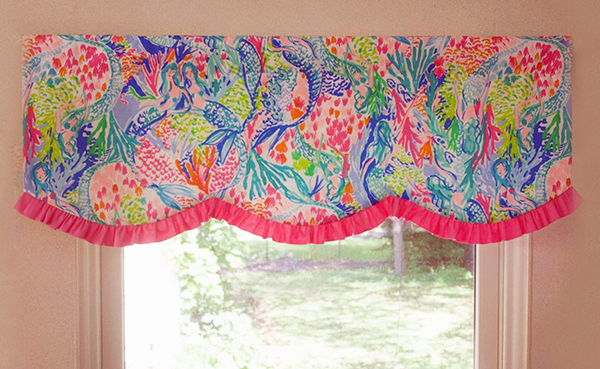Lilly Pulitzer baby girl nursery window topper.