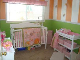 Light n airy lime green and orange baby nursery room design