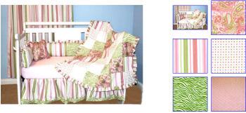 lime green baby bedding nursery crib set paisley stripes polka dots