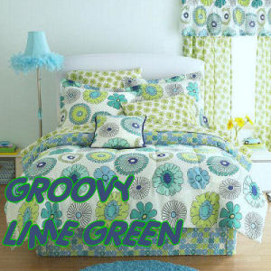 GIRLS LIME GREEN BEDDING and COMFORTER ENSEMBLES