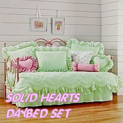 daybed bedding set hearts lime green hot pink