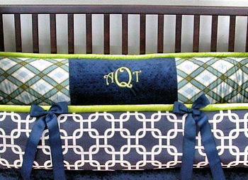 Nursery for a boy with a Lime Green and Navy Blue Crib Bedding Set <strong>HERE</strong>