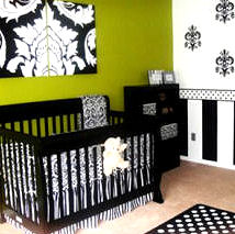 Black and white damask baby nursery bedding with lime green wall paint
