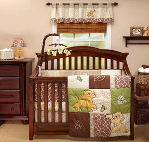 Lion King baby crib bedding set for a boy or girl jungle safari nursery with Simba and Nala chasing butterflies