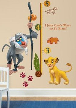 Lion King child growth chart wall decals and stickers with wild jungle animal paw prints for a baby nursery
