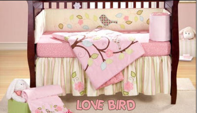baby birdy bird pink and brown little girl baby bedding set