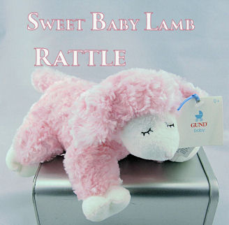 Little lamb baby rattle in pink makes a lovely gift idea for the baby shower gift basket