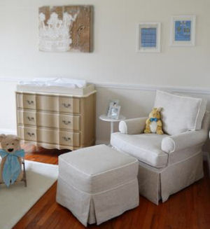 Elegant little prince nursery theme design with glider rocker, ottoman and custom crown wall art