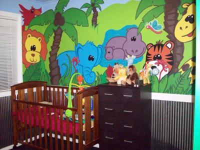 Living Jungle Animals Baby Nursery Theme Wall Mural