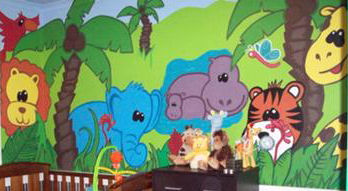 wild safari zoo jungle animals wall painting mural colorful large decals paint painted
