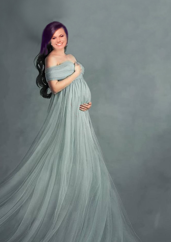 Long silver grey maternity dress for a photography portrait session photo shoot with a very long train.