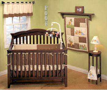 Classic Winnie the Pooh Bear neutral baby nursery room design ideas in sage green and brown with crib quilt