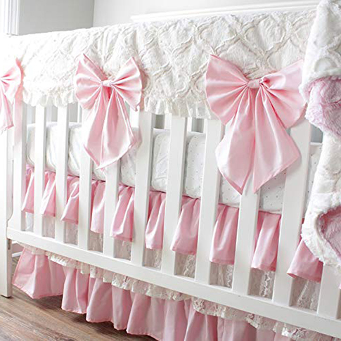 Luxury pink and white custom baby bedding set with big bows