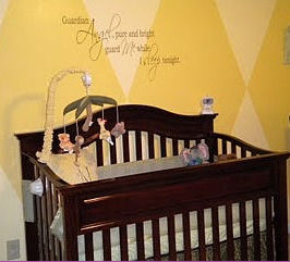 M J's Zebra Print Safari Baby Nursery Design w Diamond Nursery Wall Painting Technique