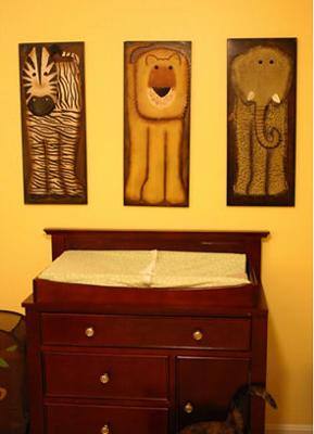 M J's Changing Table and Safari Wall Art