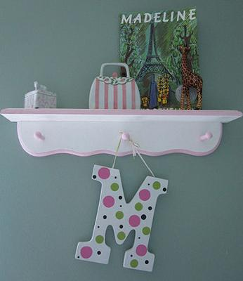 Pink and White Nursery Wall Shelf Decorated with Painted Polka Dot Letter
