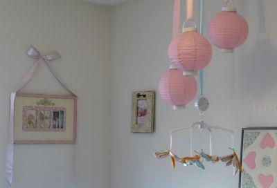 shabby chic nursery chinese lantern dragonfly baby crib mobile ribbon