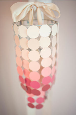 DIY homemade paper capiz chandelier knock off made from paint chip samples