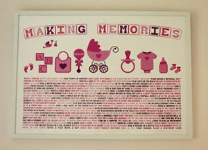 Pink and white artwork for a baby girl nursery wall by Making Memories