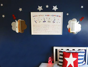 Personalized rocket ships outer space artwork for a baby nursery by Making Memories