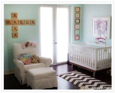 Aqua Scrabble Theme Nursery for Twins