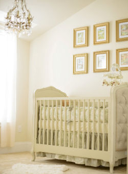 Shades of antique white gold and sage green are beautiful in Matthews classic Winnie the Pooh nursery