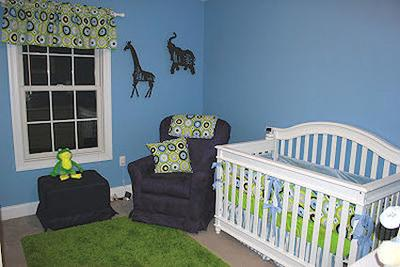 Max's Modern Navy, Baby Blue, Green and White Nursery with Giraffe Decorations and Wall Art