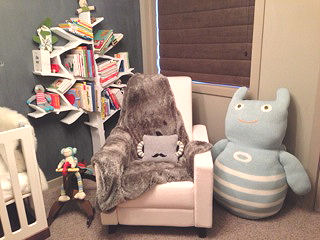 Modern baby Boy monster theme nursery room for a baby boy with Oeuf furniture Ugly Doll and Bla Bla items and a giant Zook